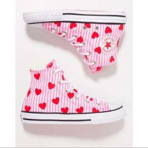 NWT Converse All Star Hi Hearts Pink Red 4Y= 6/6.5